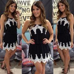 Fashion Lace Spliced Gathered Waist Sling Dress
