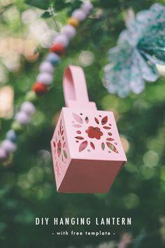 The House That Lars Built: Hanging Paper Lantern Tutorial & Free Template Fun Crafts, Diy And Crafts, Crafts For Kids, Paper Crafts, Hanging Paper Lanterns, Diy Hanging, Diy Inspiration, Diy Papier, Festa Party