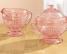 pink depression glass sugar and creamer by Marjorie Langevin Skelton