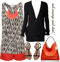 """""""red-orange and ikat"""" by jill-hammel on Polyvore"""