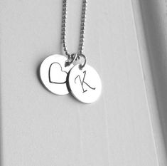 K Heart Necklace, Letter K Necklace, Initial Necklace, Heart Necklace, Monogram Necklace, Sterling S