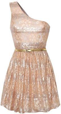 One Shoulder Sequin Lace Dress