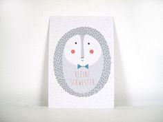P011 Igel kleine Schwester Postkarte für die kleine Schwester im Din A6 Format aus hochwertigem Recyclingpapier.  1,50 € inkl. MwSt., zzgl. Versandkosten