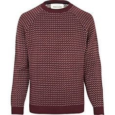 dark red pattern jumper - jumpers - jumpers / cardigans - men - River Island