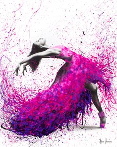 Hot Magenta Dance Art Print by AshvinHarrison - X-Small Ballet Drawings, Dancing Drawings, Art Drawings, Dance Photos, Dance Pictures, Ballerina Kunst, Ballerina Painting, Dance Paintings, Ballet Art