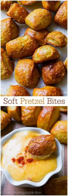 Soft Pretzel Bites with Spicy Cheese Sauce - this recipe is so simple. And the cheese sauce is to die for! Easy recipe found on sallysbakingaddiction.com