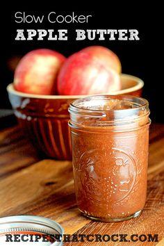 Slow Cooker Apple Butter #crockpot Slow Cooker Apples, Crock Pot Slow Cooker, Crock Pot Cooking, Slow Cooker Recipes, Crockpot Meals, Apple Recipes, Fall Recipes, Salsa Dulce, Diy Food Gifts