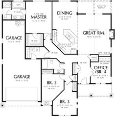 Craftsman House Plan First Floor - sub br 3, make garage a covered porch, office into mud room