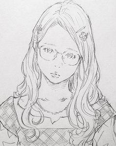 たまに描きたくなるメガネ女子。