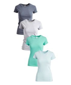 Pima Apparel Mint Gum & Heather Gray Crewneck Tee Set - Women | Zulily