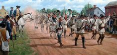 """Bee Line March In General Washington issued a call for """"Virginia Volunteer Riflemen."""" Gathering Continental troops in preparation for the Revolutionary War, Artist Larry Selman Independence War, American Independence, American Revolutionary War, American War, American Soldiers, Army Drawing, Military History, Military Art, Military Uniforms"""