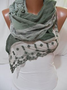 Green Cotton Shawl/Scarf  Cowl with Lace Edge by DIDUCI on Etsy, $22.00 - I want this.