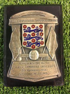 1958 England Medal Plaque Linesman Referee - Football Memorabilia FA Cup Final