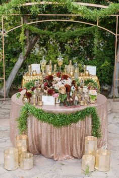 rose gold metallic wedding decor / http://www.deerpearlflowers.com/burgundy-and-gold-wedding-ideas/