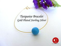 Single Blue Turquoise Bracelet, Dainty Turquoise Bracelet, One Stone Bracelet, Simple Gold Bracelet, Bridesmaid gift. Handmade Bracelets, Handmade Gifts, Turquoise Bracelet, Stud Earrings, Sterling Silver, Trending Outfits, Unique Jewelry, Gold, Blue