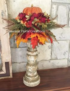 Items similar to Fall Pumpkin Arrangement~Candlestick~Vase~Table decoration~Maple Leaves for Autumn Decorating~Timeless Floral Creations on Etsy Pumpkin Arrangements, Fall Floral Arrangements, Autumn Decorating, Thanksgiving Decorations, Fall Decorations, Fall Table Centerpieces, Arte Floral, Fall Home Decor, Fall Flowers