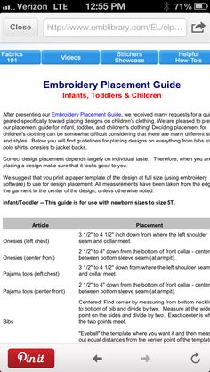 Embroidery Placement Guide for babies, toddlers and kids! http://www.emblibrary.com/EL/elprojects/Projects.aspx?cs_productid=pr1350_catalog=elprojects