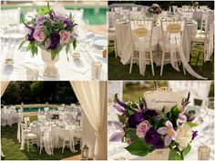 Lavender and lace vintage chic wedding centrepieces and chair decorations in Spain