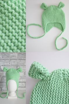 Green hat with ears - for age 0-3 months  AVAILABLE knitted of 100% wool cashmere yarn Can be used as a Photo shoot props for the baby , and for daily walks Baby Hats Knitting, Knitted Baby, Crochet Hats, Ship Craft, Cashmere Yarn, Green Hats, Ear Hats, 3 Months, Walks