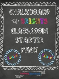 EDITABLE Chalkboard & Brights Classroom Décor Pack...soo many pages of cute labels :)