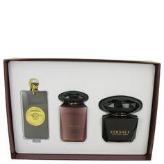 Versace Crystal Noir Perfume Gift Set: 3 oz Eau De Toilette Spray + 3.4 oz Body Lotion + Versace Luggage Tag