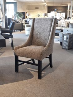 Loving this cute new side-chair on our floor this week. The boss even took one home for his home-office! Table And Chairs, Side Chairs, Dining Chairs, Dining Room, Wingback Chair, Armchair, First Home, Canvas Material, Home Office