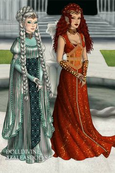 Fire and Ice Elf Goddesses by ~ Lord of the Rings & Hobbit Dress Up Elf Costume, Queen Costume, Beautiful Fantasy Art, Beautiful Dolls, Fantasy Dress, Fantasy Outfits, Concept Clothing, Blood Art, Doll Divine