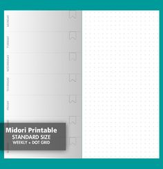 Weekly + Dot Grid Wo1P Midori  Printable Traveler's Notebook - Standard Size - Printable Insert - Wo1P + DOT Grid Undated 017