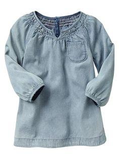 Smocked denim dress Product Image