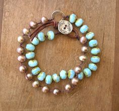 Beachy knotted bracelet, artisan silver, freshwater pearls - Live Love Laugh - baby blue opal, leather, wrap bracelet, summer boho bohemian. $57.00, via Etsy.