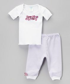 Another great find on #zulily! White & Lavender Triple Flower Tee & Pants - Infant by tiny bundles #zulilyfinds