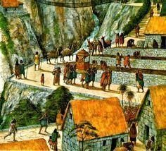 Ilustración de la vida cotidiana del pueblo inca.
