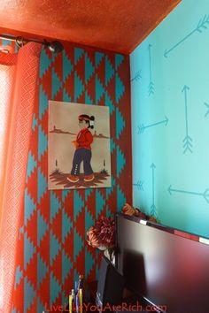 Stenciling A Navajo Inspired Nursery Wall Stencil Designsstencil Patternsnative American Nurserynursery Room