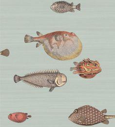 trendige Designer Tapete mit Fischen grün rot braun