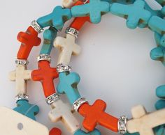 Cowgirl Bling bracelet stretch TURQUOISE WHITE RED CROSS wrap southwestern Gypsy  our prices are WAY BELOW RETAIL! all JEWELRY SHIPS FREE! www.baharanchwesternwear.com baha ranch western wear ebay seller id soloedition