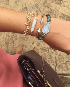 """#Repost @wearoutthewordsprn  Celebrating my #friyay with my new favorite bracelets. I might have to order these in every color  they have so many different styles of bracelets as well as earrings and necklaces. Take a look! Click the link in my bio and be sure to use code """"wearoutthewords15off"""" at checkout to save some"""