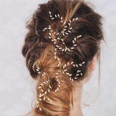 女性ウェディングパールライス穀物形状hairsticksヘアピン手作りティアラヘアジュエリーファッション花嫁ヘッドアクセサリーhairwear