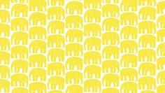 """OIL CLOTH FABRIC, Finland Finlayson Elephant print, half yard, 58"""" wide, yellow"""