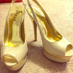 Guess peep toe heels  Color: cream with gold  Condition: good  Sizing: 5.5  Notes: they have a soulless of defects (shown in pics) that are on the side or near the heel. They don't really show when they're worn but these don't fit me anymore  No trades  Bundle discounts  Please use offer button! Guess Shoes Platforms