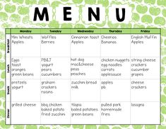 Printable Menus Daycares  Home Daily Schedule Tuition Food Menu