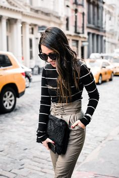 Spring Stripes :: Lace up pants & Striped jeans Outfit One :: A.L.C. sweater | ASOS lace-up pants | Manolo Blahnik pumps | Karen Walker sunglasses Published: April 21, 2017