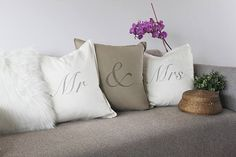 Mr & Mrs cushion set of 3 that can be personalized with names of the couple and their wedding date - perfect as wedding decor, anniversary gift or decor for the new home. Hand printed by My Home and Yours Colorful Interior Design, Colorful Interiors, Unique Wedding Gifts, Unique Weddings, Mr Mrs, Personalized Pillow Cases, Personalized Gifts, Color Psychology, Pillow Set