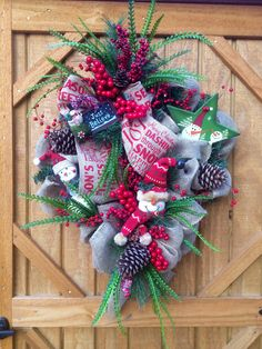 """Christmas Burlap Wreath approx 24""""dia., with extra 6"""" greenery at top and 8"""" at bottom."""