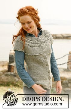 "Knitted DROPS vest with yoke worked across with cables, short rows and crochet border in ""Nepal"". Size: S to XXXL ~ DROPS Design"