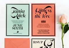 Oh So Beautiful Paper: Tania + Nick's Coral and Mint Modern Wedding Invitations