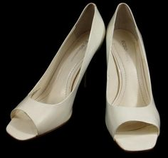 BCBG Heels Solid White Patent Leather Open Toe Pumps Shoes Womens 10 B #BCBGeneration #PumpsClassics #everyday