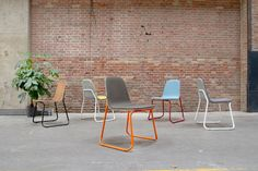 Siren is a an refreshing and colorful new design by designer, Jacob Nitz for bogaerts label. Siren is an occasional stacking chair with a bent steel frame and a dual toned upholstered moulded seat she…