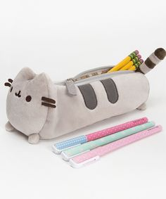 Pusheen the Cat pencil case - Hey Chickadee. You know that pusheen is poofy? but this pencil case isnt, see what happens when you put TONS of stainary in.