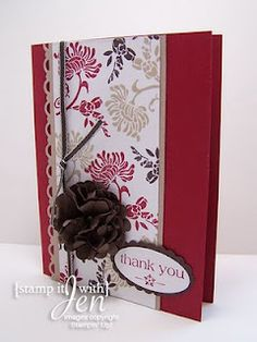 Card made using Stampin' Up Set Friends Never Fade and Scallop punch to make big flower.