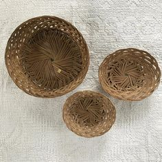 Vintage Woven Basket Wall Decor Set of 3 | Boho Wall Decor | Basket Collection | & Vintage Woven Wicker Rattan Paper Plate Holders with Handles | Set ...